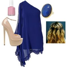 blue chiffon one shoulder dress