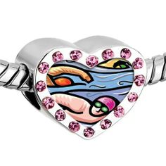 Pugster Pink Swarovski Crystal People Swimming In Ocean Photo Heart Silver Plated Beads Fits Pandora Charm Chamilia Biagi Bracelet Pugster. $16.49. Metal: Crystal. Size (mm): 12.95*7.4*10.31. Color: Pink. Weight (gram): 2.8