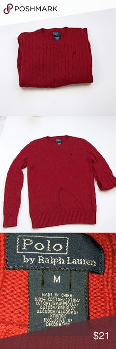 Classic sweater by Ralph Lauren Fiery red and perfect autumn color. Great for layering. Knit cotton sweater. No tears, no holes, no stains. Ralph Lauren Sweaters