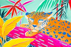Vibrant Jungle Throw Pillow by Sun Lee - Cover x with pillow insert - Indoor Pillow Sketchbook Inspiration, Painting Inspiration, Art Inspo, Jungle Illustration, Mural Art, Art Techniques, Cat Art, Framed Art Prints, Painting & Drawing