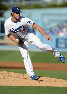 Los Angeles Dodgers starting pitcher Clayton Kershaw during the game against the Tampa Bay Rays at Dodger Stadium.