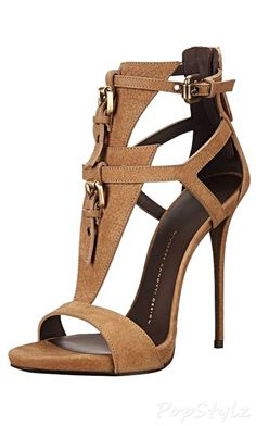 Giuseppe Zanotti Women's Dress Sandal, Sbuff Taupe, 7 M US brown heels Dream Shoes, Crazy Shoes, Me Too Shoes, Stilettos, High Heels, Pumps, Zapatos Shoes, Shoes Heels, Strappy Shoes