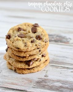 Banana Chocolate Chip Cookies - these cookies are soft and chewy with just the right amount of banana flavor. Kids and adults will love them!