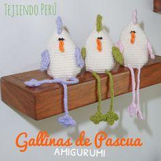 Gallinitas de Pascua tejidas a crochet (amigurumi)! Las hicimos para esconder los huevos de chocolate adentro ☺️ English subtitles: amigurumi Easter hens!
