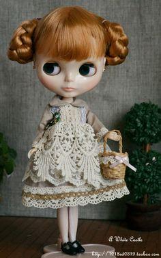 Mori Girl Style Green Tea Lace Dress for Blythe/ Blythe Outfit. $30.00, via Etsy.