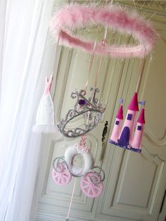 Nursery Mobile  Princess  white with pink tones by lilliputloft, $138.00