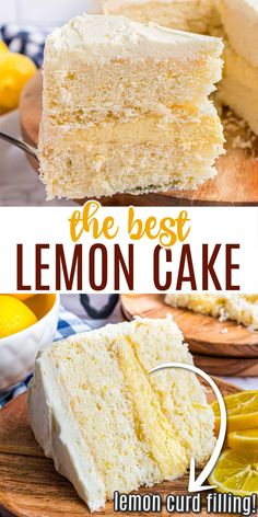Homemade Lemon Cake with a middle layer of creamy lemon frosting and fresh lemon curd! Delicious and made entirely from scratch, this is one impressive cake. Yet easy enough for you to make too! Citrus Recipes, Lemon Dessert Recipes, Fun Baking Recipes, Cupcake Recipes, Sweet Recipes, Delicious Desserts, Cooking Recipes, Fruit Recipes, Easter Recipes