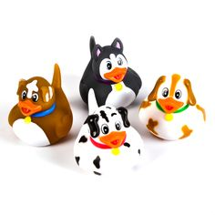 4 Puppy Rubber Ducks of different puppy designs. These puppy rubber ducks are very detailed and great fun in the bath. Only £2.99 at Novelty Toy Shop
