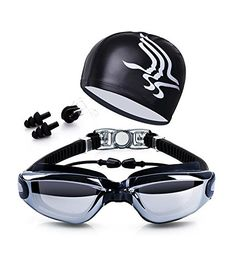 Swim Goggles + Swim Cap + Case + Nose Clip + Ear Plugs,Dsoso Clear Swimming Goggles Coated Lens No Leaking Anti Fog UV Protection for Adult Men Women Youth Kids Child,Black.
