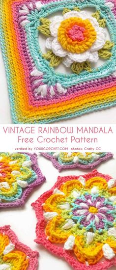 Vintage Rainbow Mandala Free Crochet Pattern This is a beautiful mandala pattern with a lot of possibilities how to use in many different projects. You can make this pattern into a Crochet Mandala Pattern, Crochet Motifs, Crochet Flower Patterns, Crochet Afghans, Crochet Doilies, Crochet Flowers, Crochet Stitches, Free Crochet, Crochet Blankets