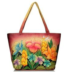 Anuschka Zip Top Hand Painted Leather Large Tote Bag