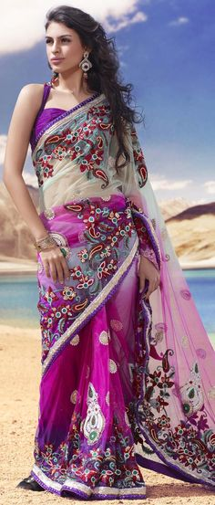 Light Pastel #Green and Deep #Pink Net #Saree with Blouse @ $315.43   Shop @ http://www.utsavfashion.com/store/sarees-large.aspx?icode=skk13727