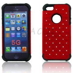 Apple iPhone 5S/ 5 Hybrid Studded Diamond Case Black Skin Red PC