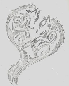 Wolf Tribal Heart by wolfhappy on DeviantArt Tribal Drawings, Cute Drawings, Tattoo Drawings, Drawing Sketches, Body Art Tattoos, Tribal Tattoos, Wolf Tattoo Tribal, Cute Couple Drawings, Wing Tattoos