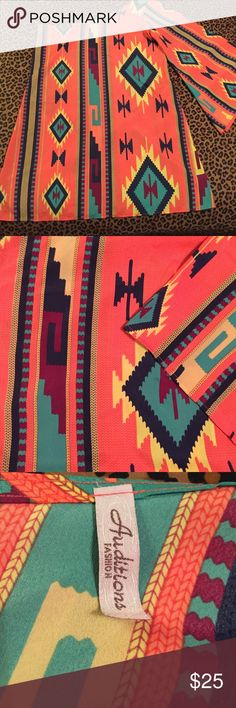 Auditions fashion one shouldered frock dress Adorable frock style dress with one bell sleeve. Bright coral Aztec pattern. Never worn, excellent condition. If you'd like additional pictures let me know  Dresses One Shoulder