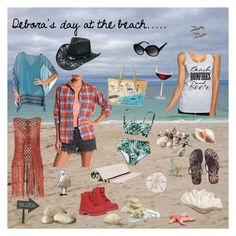 """""""Debora's day at beach..."""" by dobesht ❤ liked on Polyvore featuring Billabong, Lugz, Havaianas, Jantzen, Moncler, Nordstrom, Spartina 449, Pearl Dragon, Silverado and Marilyn Monroe"""