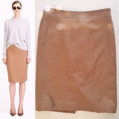 """J.Crew wool pencil skirt Like new condition.  Tan wool lined pencil skirt with slit back and back zipper.  20.5"""" in length.  14"""" across waistband.   No trades. Reasonable offers welcome Note: 20% off bundles of 2+ items in my closet! J. Crew Skirts Pencil"""