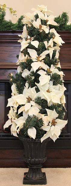 """46"""""""" Pre-Lit White Artificial Poinsettia Potted Christmas Tree - Clear Lights"""