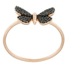 Astley Clarke Cinnabar Moth ring ($512) ❤ liked on Polyvore featuring jewelry, rings, metallic, black rose gold ring, rose ring, 14 karat gold ring, butterfly rings and 14k black gold ring