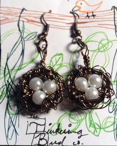 My first Bird's Nest Earrings - Bronze; Pearl White