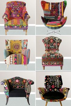 Pour les amoureux du style bohème, un site magnifique: The gypsy lifestyle boho chic is for the nomad at heart. It represents a collection of various different colors, patterns and textiles and creates a bold style. The basic essence of Boho chic is. Bohemian Furniture, Funky Furniture, Painted Furniture, Art Furniture, Furniture Design, Patterned Furniture, Patterned Chair, Painted Chairs, Furniture Chairs