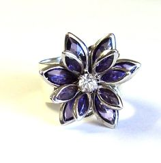 Purple Flower Wide Band Adjustable Ring, Statement Silver Metal Ring, Gift for Her
