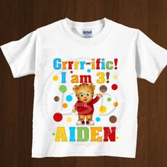 Daniel Tiger Birthday Shirt Image Party by lovebuggydesigns