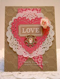 This beautiful card is from the Stampin' Up! 2013 Spring Catalog using the Honeycomb Embossing Folder, Paper Doilies, Flower Trim, More Amore Laser-Cuts, Artisan Embelishment Kit, and Designer Builder Brads.