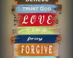 Scripture Reclaimed Wood Christian Sign Set by HeartofGodRanch
