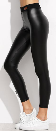 Black Contrast Elastic Waist Faux Leather Leggings