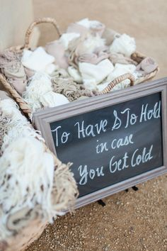 To have & to hold in case you get cold - such a fab idea for your #guests {Megan Clouse Photography}