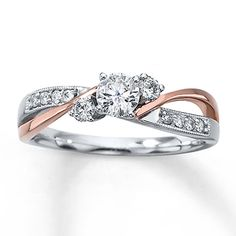 I kind of like the two tones. Diamond Engagement Ring 3/8 ct tw Round-cut 14K Two-Tone Gold