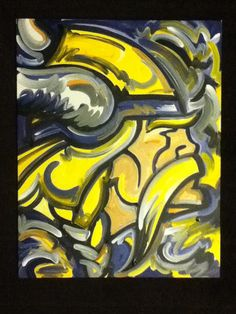 Painting for the BF's Mancave. Minnesota Vikings Painting by Justin Patten ~ Stormstriker on Etsy