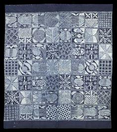 Yoruba Indigo Adire cloth  Indigo resist-dyed cloths of the Yoruba from Nigeria, freehand patterning