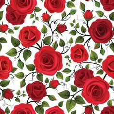 Seamless Pattern With Red Roses Vector Illustration Royalty Free Cliparts, Vectors, And Stock Illustration. Simple Flower Drawing, Easy Flower Drawings, Easy Flower Painting, Acrylic Painting Flowers, Watercolor Flowers, Hd Flowers, Simple Flowers, Beautiful Flowers, Flower Aesthetic