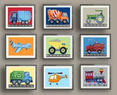 transportation art prints, cars trucks wall art decor, brody bedding art prints, boys nursery art