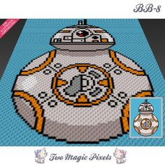 BB8 crochet blanket pattern; c2c, cross stitch; graph; pdf download; no written counts or row-by-row instructions by TwoMagicPixels, $2.79 USD