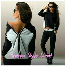 Super cute 2pc set sweat suit!! How gorgeous is this 2 piece sweat suit!! Super cute and comfy! Perfect for vacation,  running errands , or just looking cute at home!! Jacket has the zipper in the back !. Other