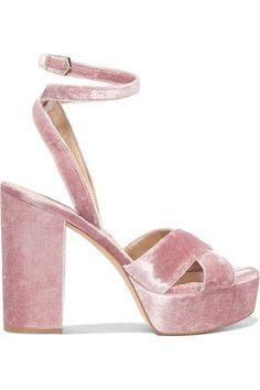 Sam Edelman - Mara Velvet Platform Sandals - Antique rose - US7.5
