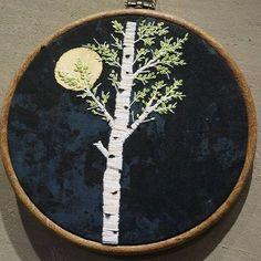 달 과 자작 #embroidery #handstitched #handmade #프랑스자수 #자수