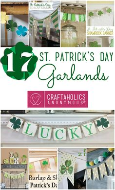 Box of Happies (handmade surprises shipped monthly in a reusable craft box) LOVES DIY!: Here are my favorite St. Patrick's Day Garlands from around the web! Add a touch o' the Irish to your St. St Patrick's Day Crafts, Holiday Crafts, Holiday Fun, Decor Crafts, Christmas Time, Holiday Ideas, Diy Crafts, Holiday Decor, St Pattys