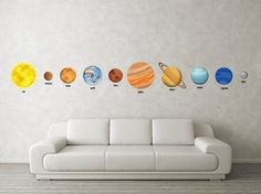 Planet Decals  Space Decor  10 Piece Set Solar, etsy by krankykrab, $60.00
