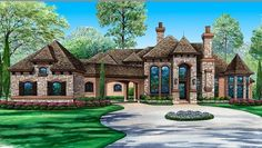 The Eisenhower estate house plan has everything you can imagine within its sq ft. This luxury house plan shows off its wine cellar on the main floor Ranch House Plans, Cottage House Plans, Cottage Homes, Castle House Plans, Mansion Plans, European Plan, European House, Luxury House Plans, Best House Plans