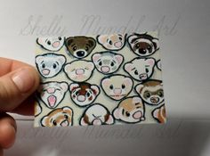 """ACEO Ferret Print """"One Million Faces 4"""" Shelly Mundel Art NEW!!"""