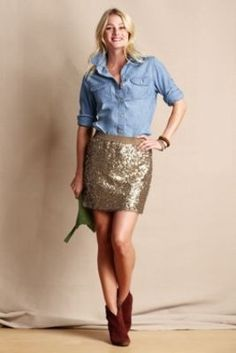 83abfd8335 Women s Sequin Mini Skirt from Lands  End Canvas Gold Sequin Skirt