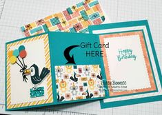 Fold Out Gift Card Holder with Birthday Bonanza Paper (Patty's Stamping Spot) – Scrapbooking Gift Cards Money, Itunes Gift Cards, Free Gift Cards, Gift Card Cards, Birthday Gift Cards, Homemade Birthday Cards, Homemade Cards, Fun Fold Cards, Folded Cards