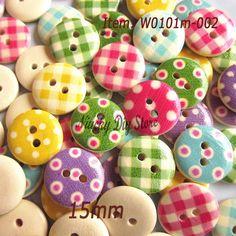 50 15mm Wooden Buttons Random Mix Craft Scrapbook Sewing Cardmaking CC
