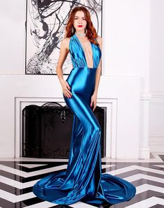 Miss ord Women Sexy V Neck Sleeveless Long Halter Party Dress Blue Satin Dress, Satin Gown, Satin Dresses, Elegant Dresses, Silk Dress, Sexy Dresses, Fashion Dresses, Blue Gown, Silk Evening Gown