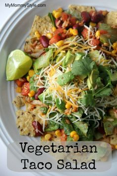 Vegetarian Taco Salad-- for completely plant based leave the cheese off or use vegan cheese