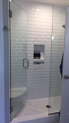 Floor And Decor White Beveled Subway Tile.White Bathroom With White Beveled Subway Tiles . Finished Walk In Shower 3 8 Bathroom Renos, Bathroom Renovations, Bathroom Furniture, Wood Bathroom, Basement Bathroom, Washroom, Bathroom Cabinets, Bathroom Fixtures, White Mosaic Bathroom